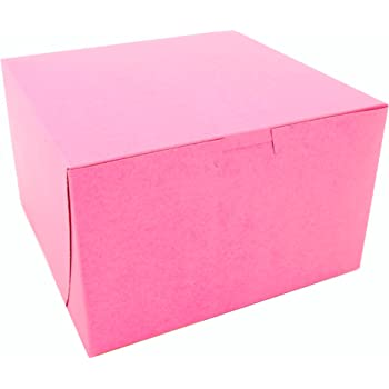 Southern Champion Tray 0845 Pink Paperboard Non-Window Lock-Corner Bakery Box, 8