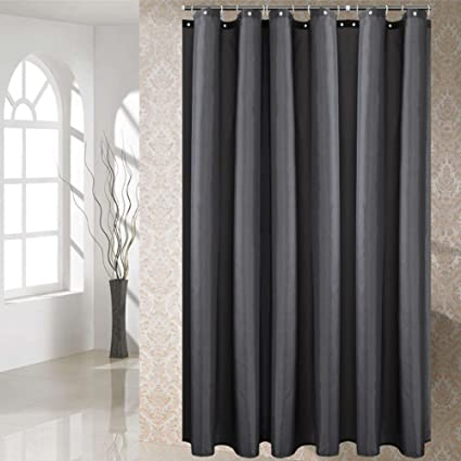 Fanjow® - Cortina de ducha en poliéster de tela impermeable resistente al moho con 12