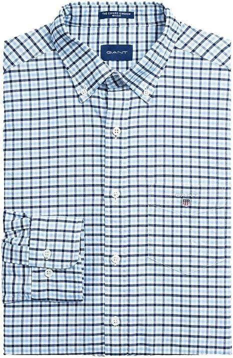 Gant Camisa Cuadros Vichy Celeste para Hombre XL Azul: Amazon.es: Ropa y accesorios