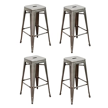 Amazoncom Edeco 30 Inch Tolix Style Bar Stools Backless Metal