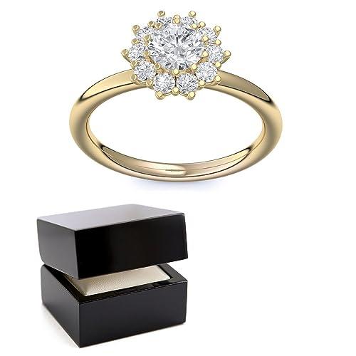Compromiso anillos oro con circonita + estuche! Gold Ring anillo oro circonios tales como el