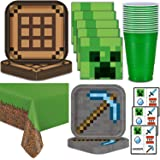 Minecraft Party Supplies for 16 - Dinner Plates, Dessert Plates, Napkins, Cups, Tablecloth, Tattoos - Pixel Mining Theme Birt