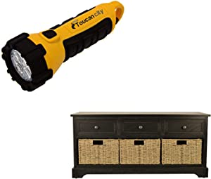 Toucan City LED Flashlight and Decor Therapy Montgomery Black Storage Bench FR1729