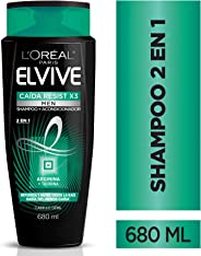 L'Oreal Paris Shampoo 2 en 1, Caida Resist Men Elvive, 680 ml