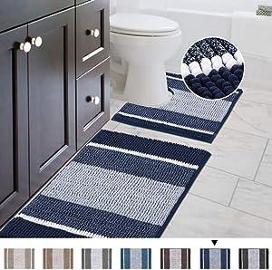 Shaggy 2 Piece Bath Rug Set (Ombre Navy) 20 x 20 U Shape Contour Rug & 20 x 32 Bathroom Rug Machine Wash/Dry Bath Mats for Bathroom Plush Absorbent Bathroom Rugs and Mats Set Non Slip