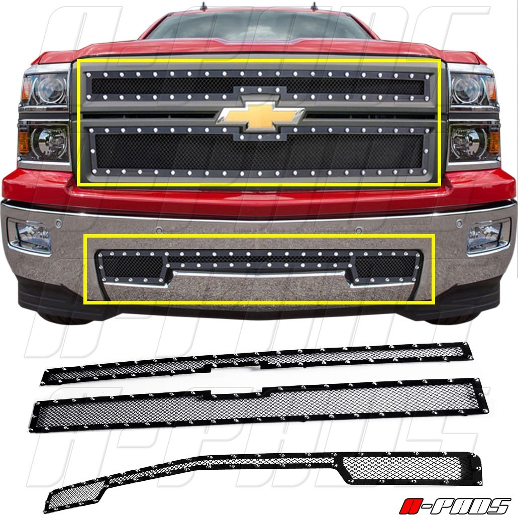 A-PADS 3PC Black Mesh STEEL Grilles With Silver Rivets for Chevy SILVERADO 1500 2014 2015 - OVERLAYS: 2PC Upper Main + 1PC Bumper [Not for Z71]