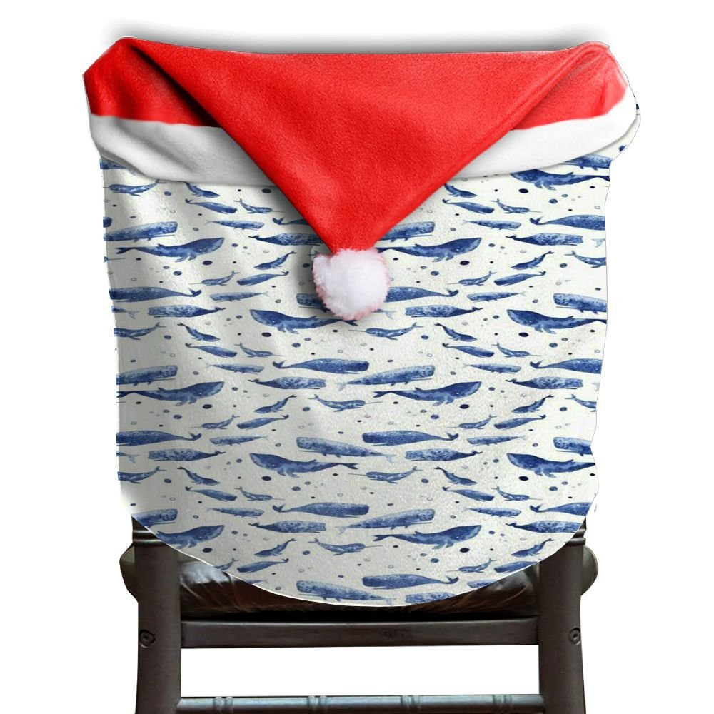 Whale Animal Christmas Chair Covers Modern Design Smooth Santa Hat Chair Covers For Men And Women Chair Back Covers Holiday Festive