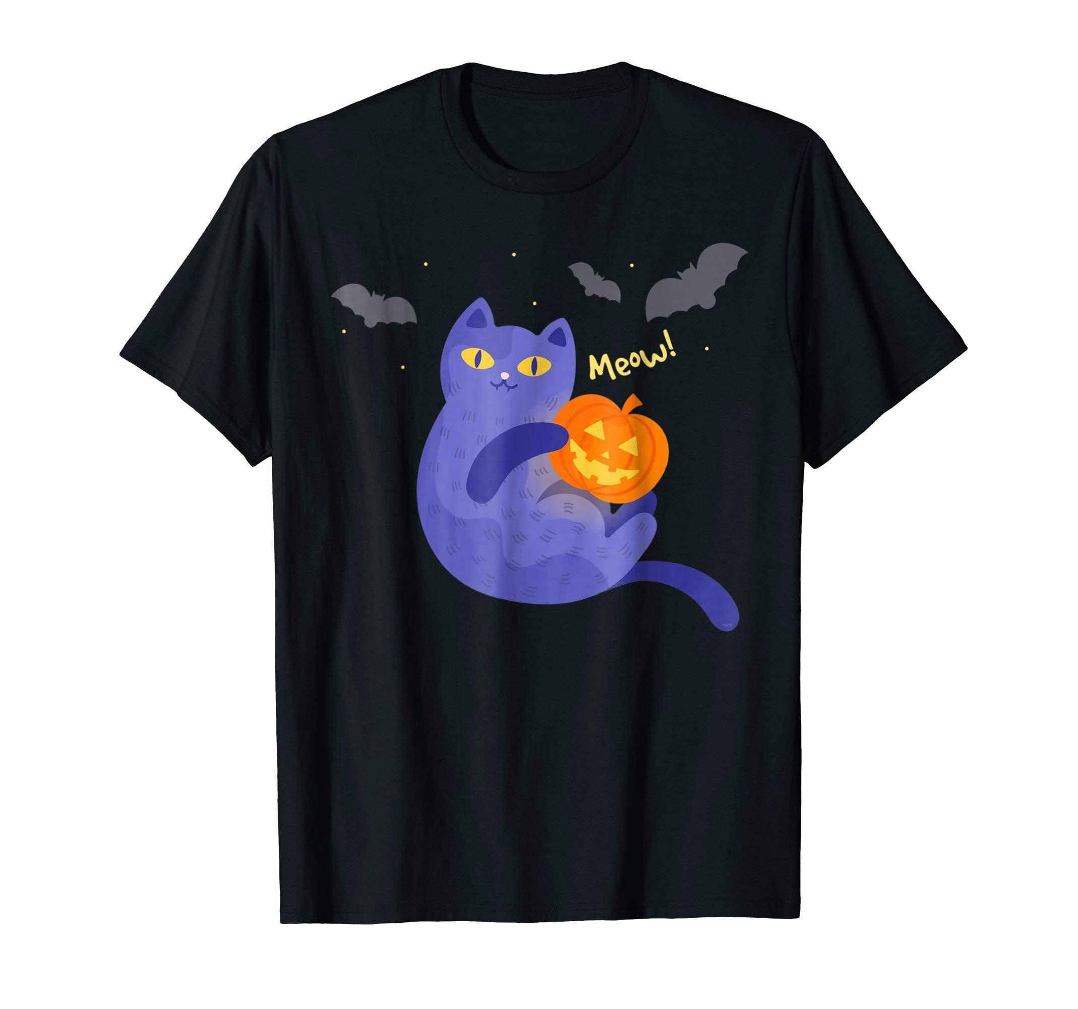 Meow-Halloween-Cat-T-Shirt-Novelty-Tee-Gifts