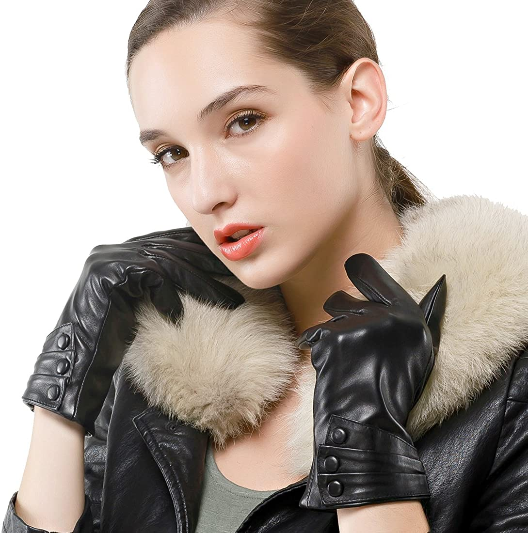 Warm Fleece Lining Touchscreen Texting Driving Winter Womens Leather Gloves