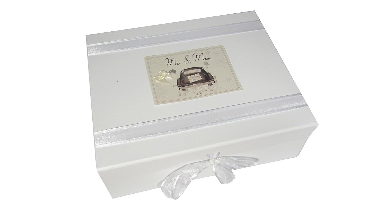 White Cotton Cards Mr and Mrs Wedding Large Keepsake Box Wedding Car Range BabyCentre WC2X