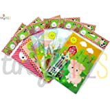 Farm Animals Coloring Books with Crayons Party Favors Set of 12