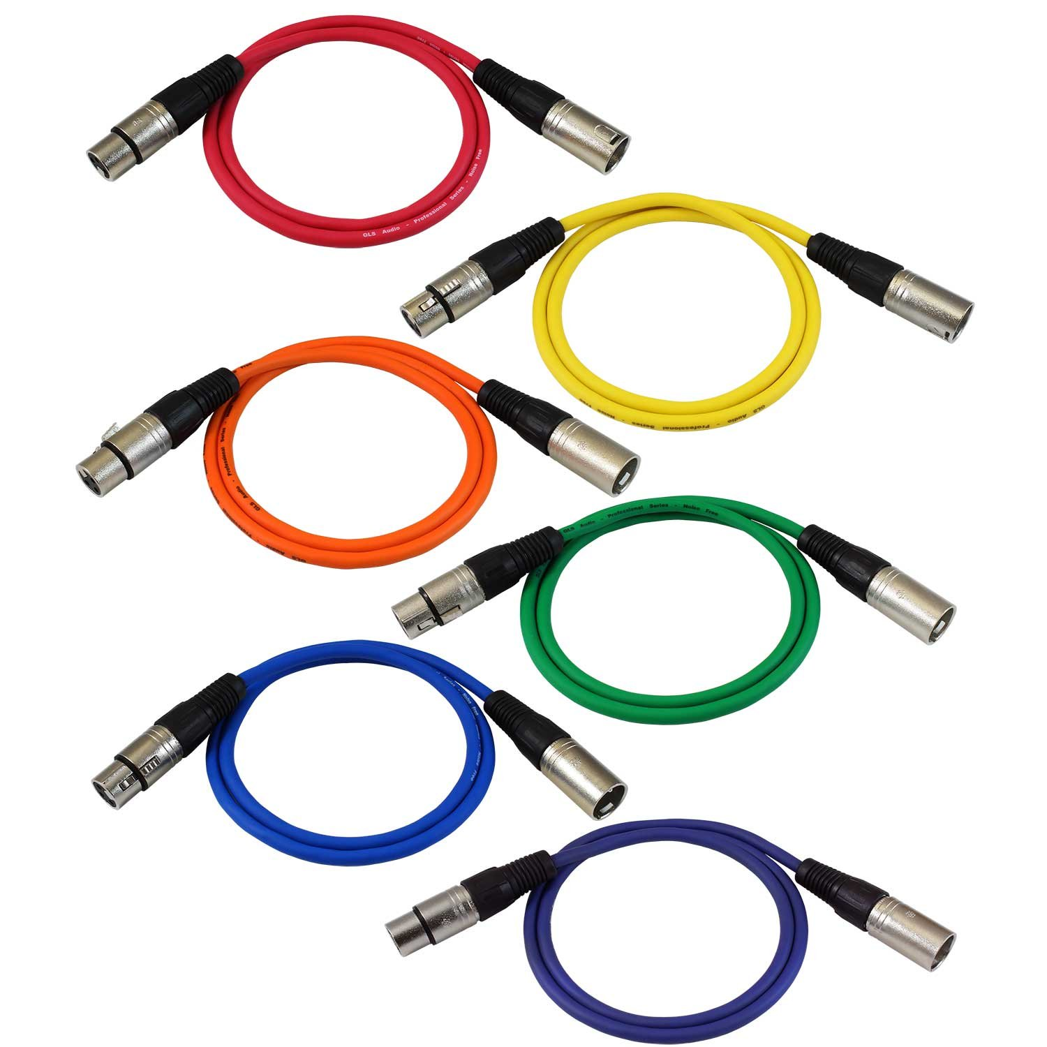 GLS Audio 3ft Patch Cable Cords - XLR Male To XLR Female Color Cables - 3' Balanced Snake Cord - 6 PACK