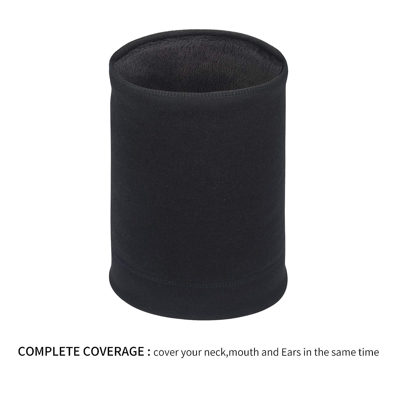 Oscenny Cache-cou doubl/é en polaire pour homme et femme avec cordon de serrage r/églable Velcro
