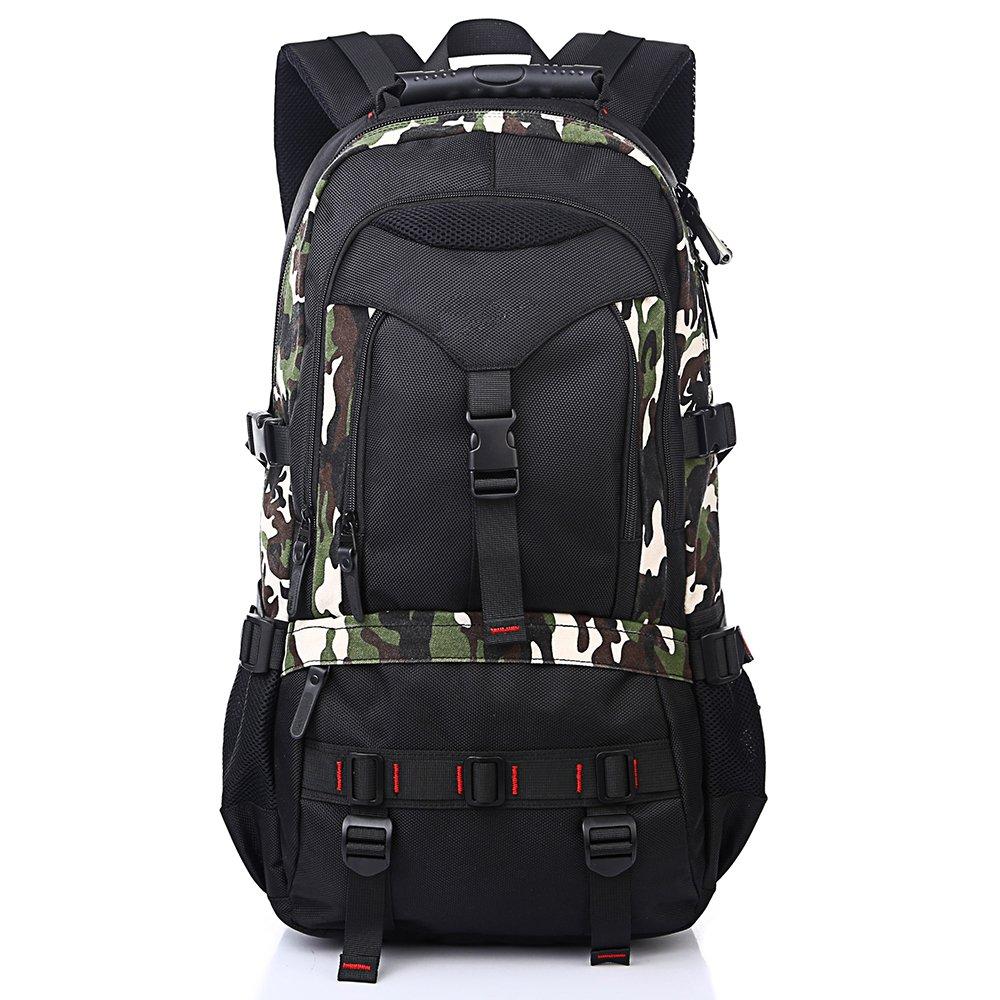 モンスター オックスフォード布大容量の男性と女性の防水リュックサック、学校のバッグ、旅行のバックパックは、15.6インチのラップトップを収容することができます B07DJ2K5JJ カモフラージュ L