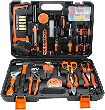 Todeco - Household Tool Box, Home Tool Kit - Material: Acero - Peso: 4,1 kg - con estuche negro, 114 herramientas: Amazon.es: Bricolaje y herramientas