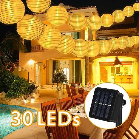 Guirnaldas de Luces Solar Farolillos, 6.5 Metros 30 LED Guirnaldas ...