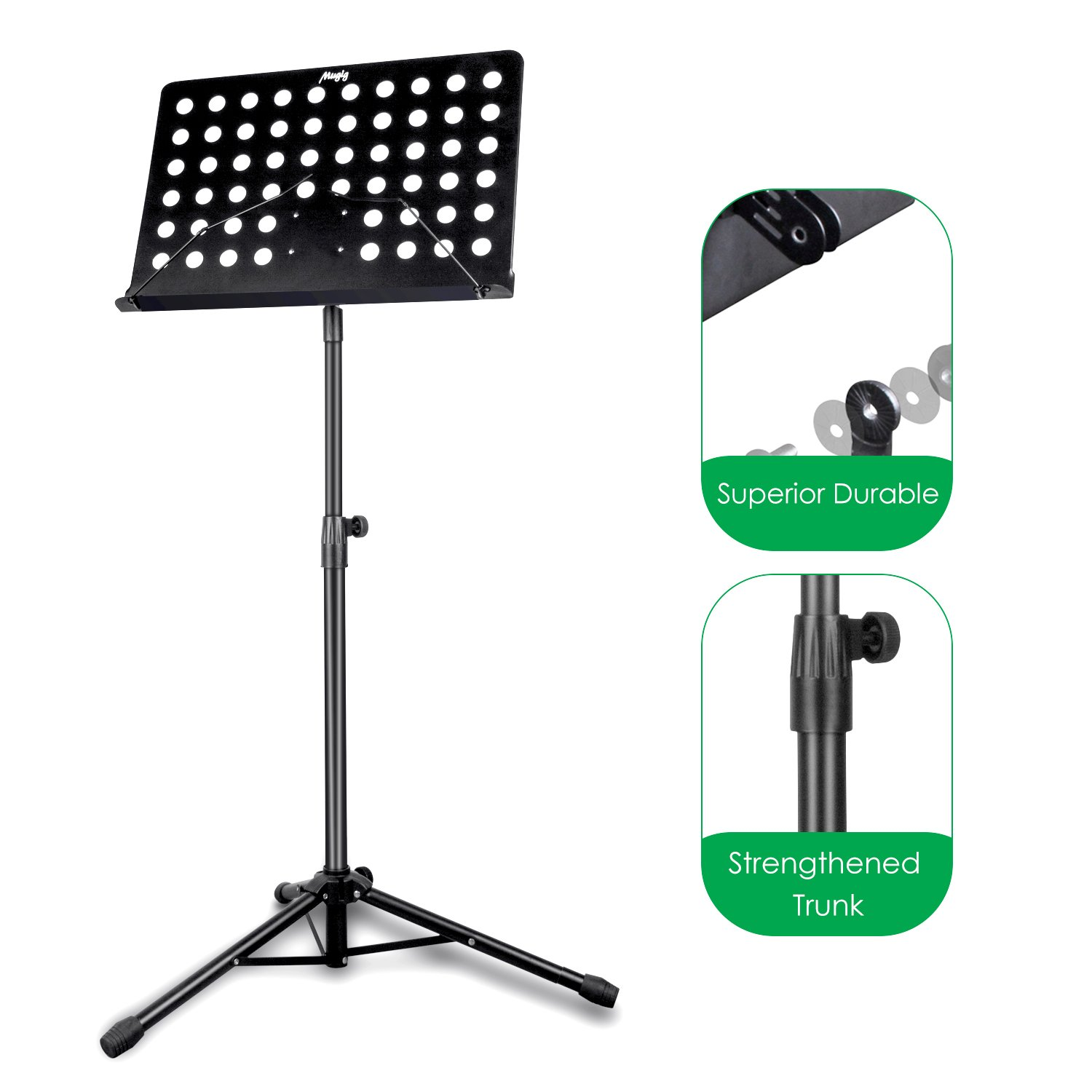 Mugig Music Stand,Sheet Music Stand Portable Adjustable Folding Music Holder for Instrument pad,books,Professional Collapsible Music Stand for Music Sheet(Black),Perfect for Instrumental Performance.