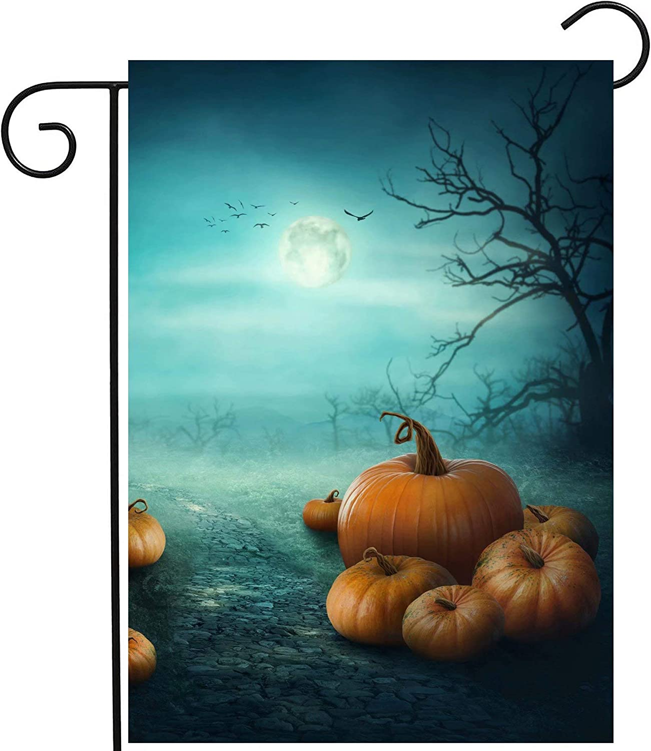 """ShineSnow Halloween Seasonal Autumn Pumpkin Fantasy Fairy Forest Garden Yard Flag 12""""x 18"""" Double Sided Polyester Welcome House Flag Banners for Patio Lawn Outdoor Home Decor"""