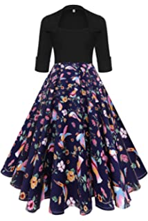 01b81f06b022f Befily Womens Vintage 1950s' Retro 3/4 Sleeve Party Dress Lapel Flowy Floral  Cocktail