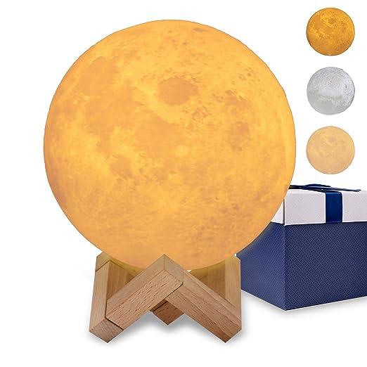 Tuipong Moon Lamp Night Light - Lámpara de pie con impresión 3D y ...