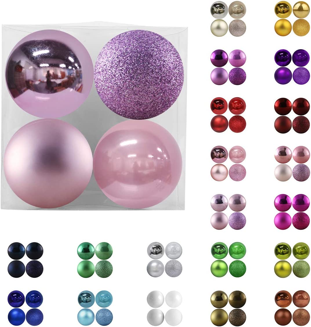 """Christmas Balls Ornaments for Xmas Tree - Shatterproof Christmas Tree Decorations Large Hanging Ball Lavender Purple 4.0"""" x 4 Pack"""