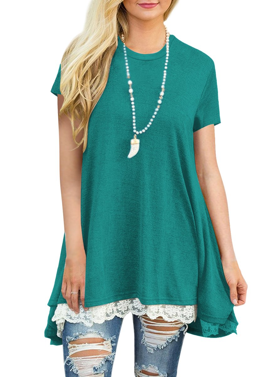 MBIGM Womens Lace Casual Short Sleeve Tunic Tops Loose Shirt Blouse (Green, Large)