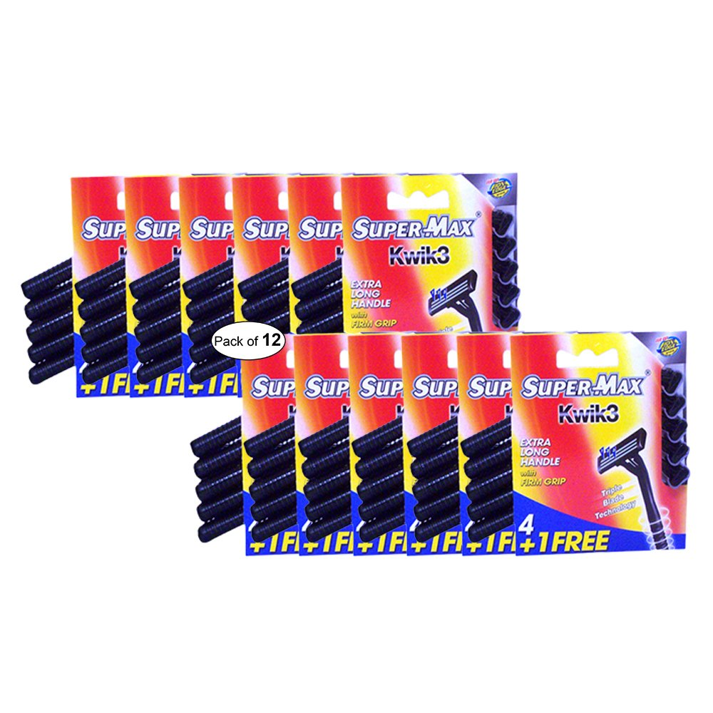 Super Max Kwik3 Extra Long Handle Razor Blades With Firm Grip (4+1 Pack), Black (Pack of 12)