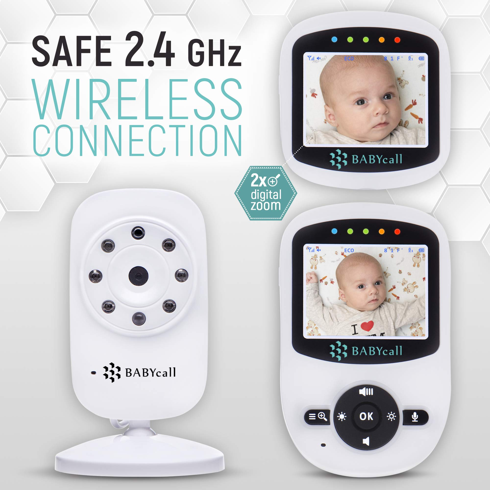 Video Baby Monitor with Camera - Upgrade 2019 Model of Monitoring System with Night Vision, Two Way Audio, Temperature detectors - Long Range Wireless Monitoring by BABYcall by BABYcall (Image #6)