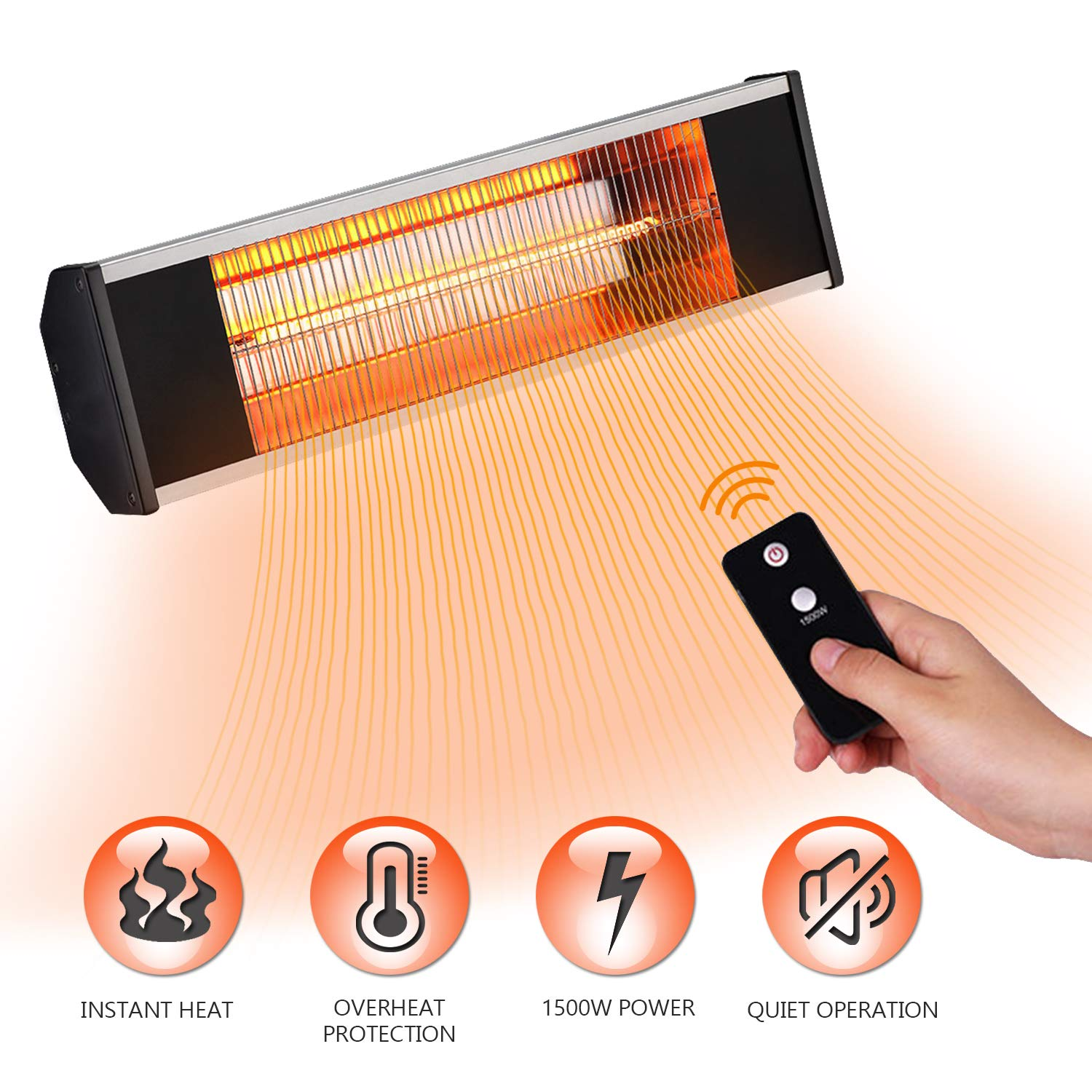 SURJUNY Electric Heater, Wall-Mounted Patio Heater with Remote Control, Waterproof Indoor/Outdoor Infrared Radiant Heater, 1500W by SURJUNY