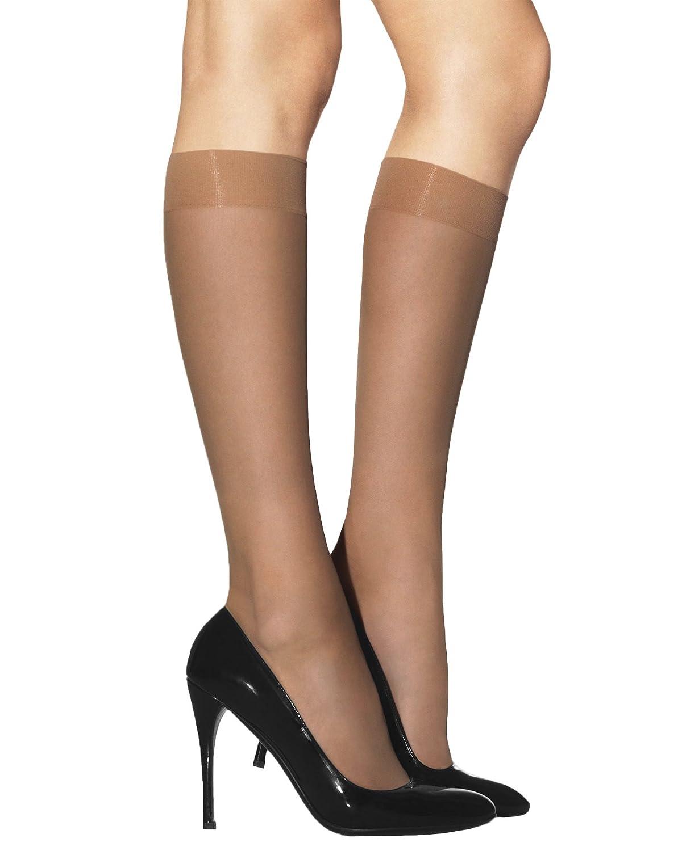 Lady Sofia 2 Pairs Laura Semi-Opaque Knee High Pop Socks Glossy Finish 40 Denier