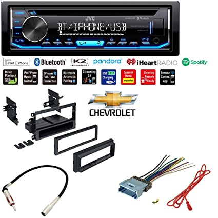 JVC KD-RD79BT 1-Din Car CD Receiver Stereo  w/Bluetooth/USB/AUX/Pandora/iPhone Dash Install Kit Wire Harness Radio  Antenna for Buick Cadillac Chevrolet