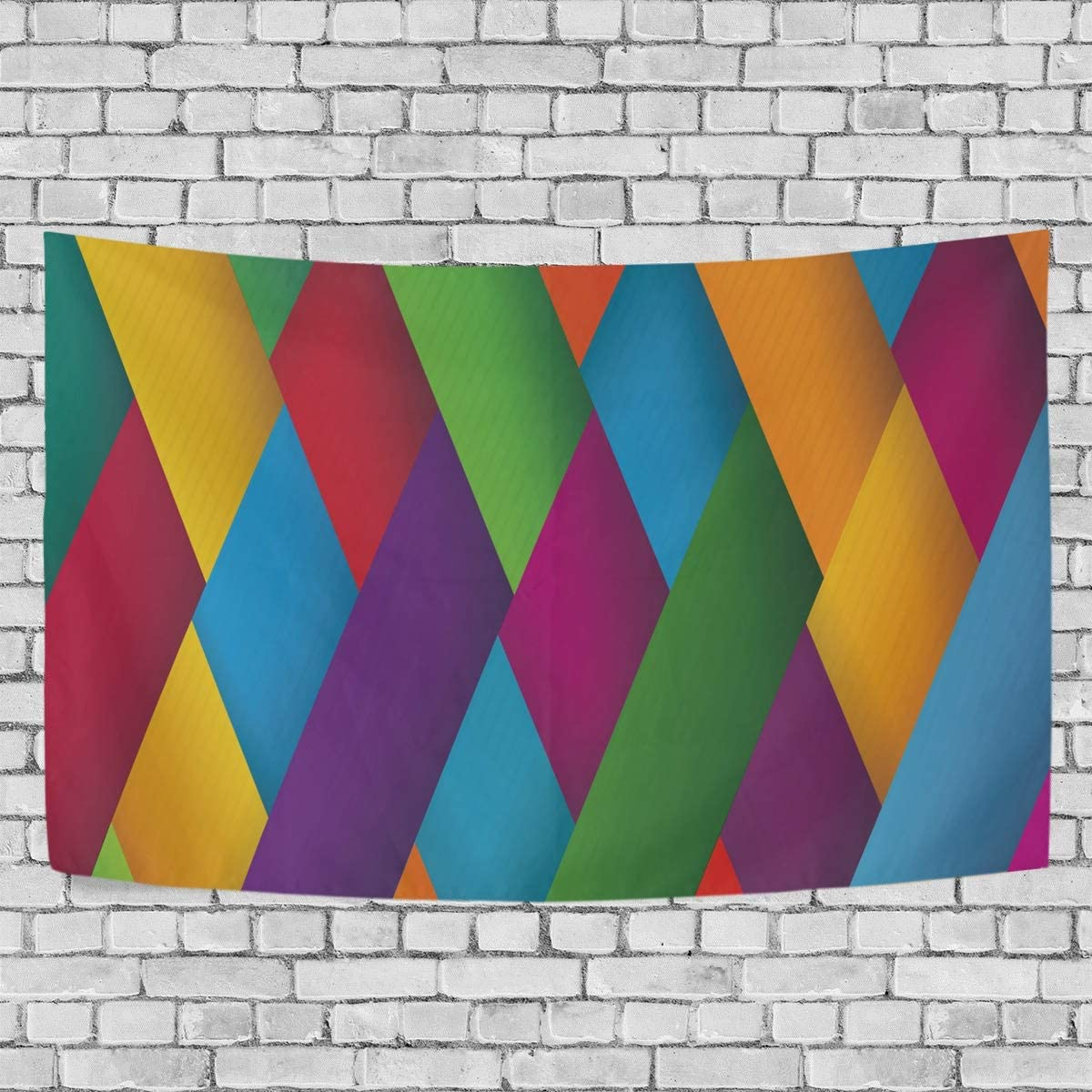 Wall Tapestry Decor Cross Striped Pattern Green Yellow Purple Red Blue Modern Wall Hanging Artwork Polyester Fabric Cottage Dorm Bedroom Living Room Wall Art Wall Blanket Home Decoration 90
