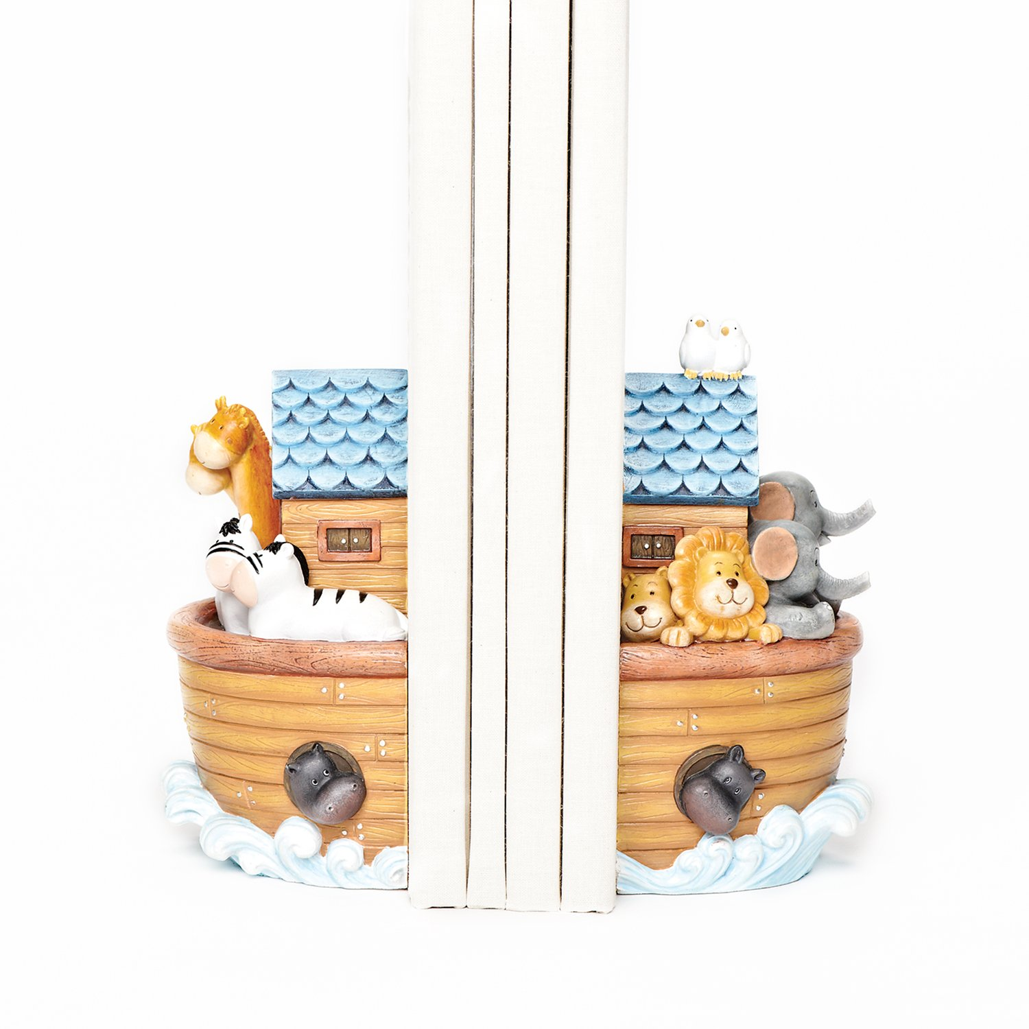 Roman Exclusive Noah's Ark Bookends Showing All The Animals on Board The Ark, 6.5-Inch Tall, Set of 2 Inc. 46406