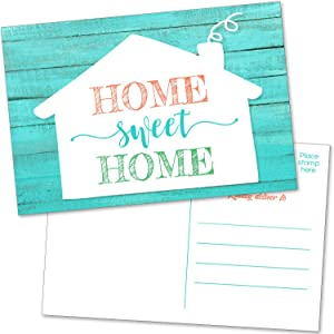 50 Home Sweet Home Postcards - Bulk Happy House Anniversary Realtor Cards, We've Moved Announcements and Housewarming Invitations - Real Estate Welcome or Moving Announcement Note Card