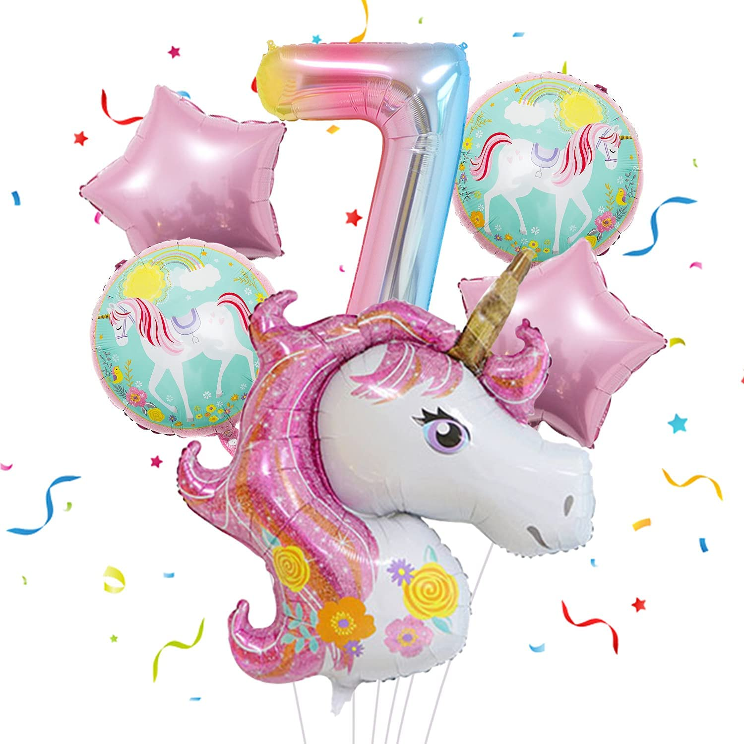 Jumbo Unicorn Balloons Party Supplies for Girls Birthday Decoration, Mylar Foil Balloon Bouquet for 7th Birthday Party Baby Shower Home Office Backdrop Decor