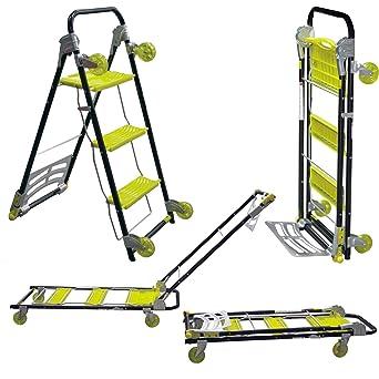 VonHaus - Carrito-escalera plegable multi-función 4 en 1 para uso pesado /