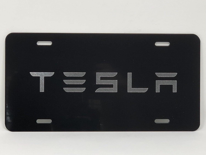 Tesla 2 Logo Car Tag Diamond Etched on White Aluminum License Plate