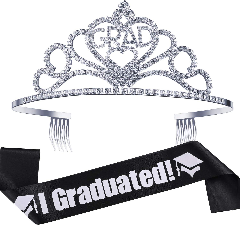 2020 Graduation Party Supplies Kits, Glittered Metal Graduation Princess Grad Crown Tiara and Graduated Sash, Great Gifts for Graduation Party Decorations Grad Decor Favors (Black)