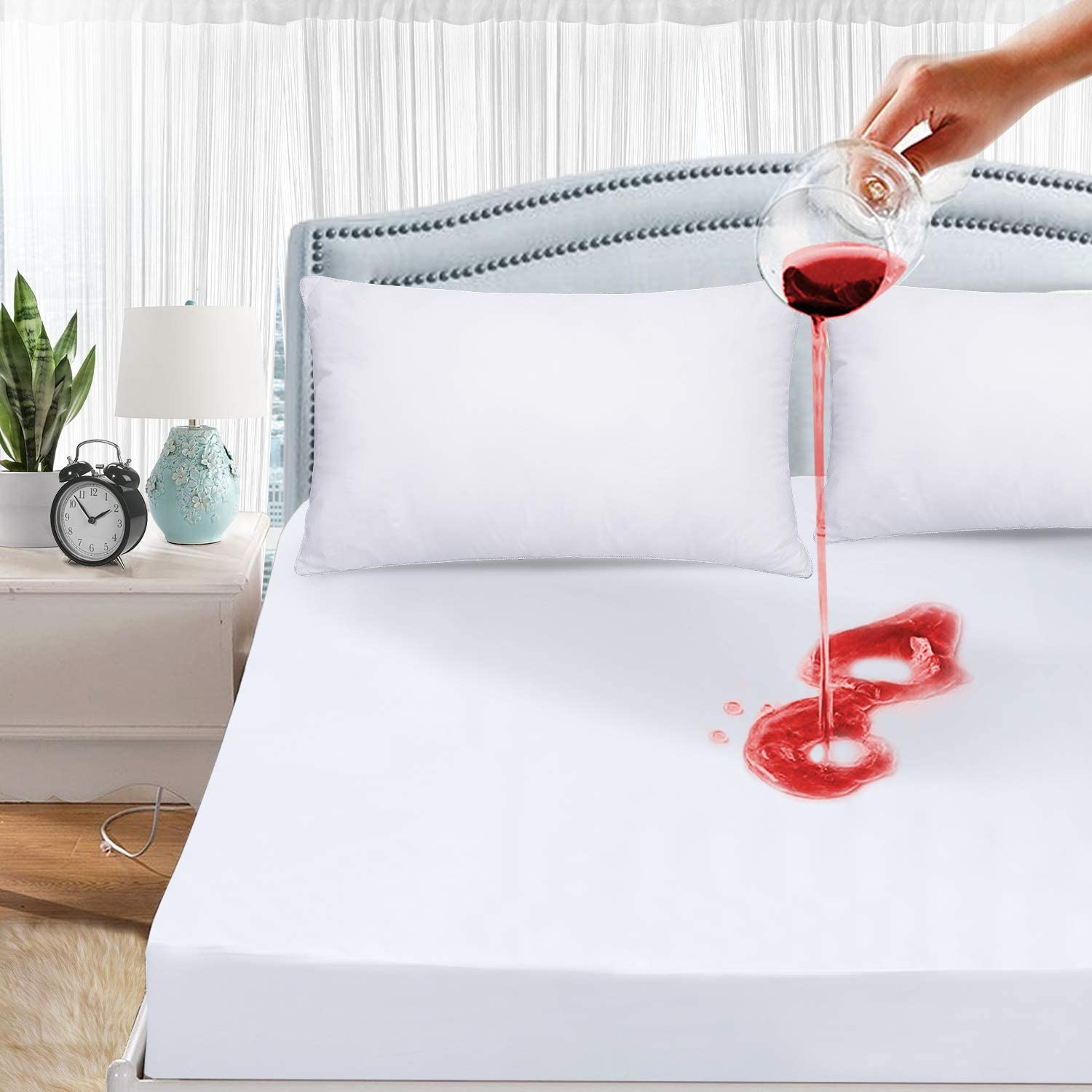 Polyester Water-resistant Mattress Protector Cover Fitted Breathable and Soft