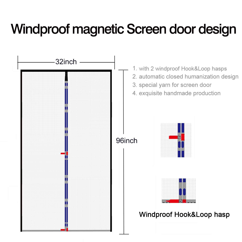 Screen Door Magnet 40x96magnetic Mesh Screen For Entry Front Door