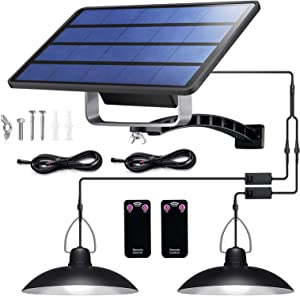 Solar Lights Outdoor with Dual Head Hanging Shed, IP65 Waterproof with 32 LED Lights and 2 Remote Control, Adjustable Solar Panel with 19.68FT Cord for Home Yard Garden Decorate