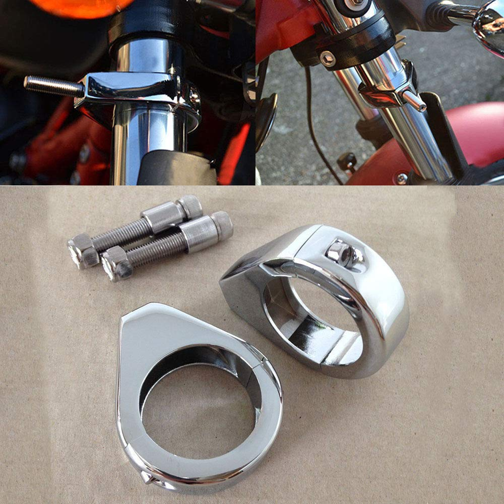 Motorcycle Turn Signal Clamps For Harley Softail Mount Bracket 49Mm Fork Tube CHROMED Motorcycle by SMT-MOTO