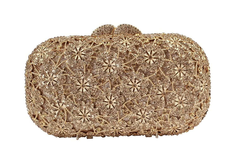 Yilongsheng Ladies Dazzling Prom Bags with Shiny Flower Shaped Crystal Diamonds