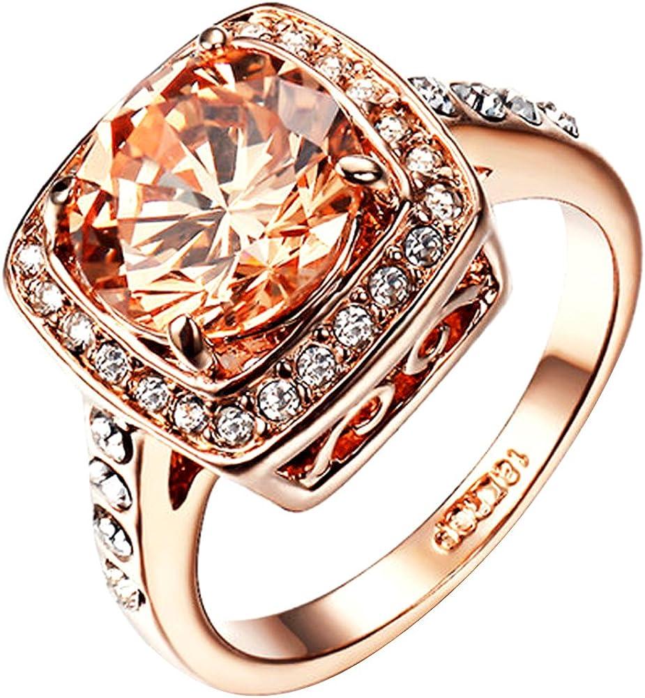 Yoursfs- Anillos mujer chapado en oro rosa con Circón Cúbico amarillo anillos de compromiso