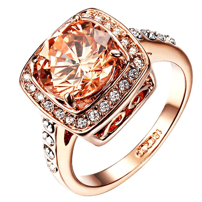 Yoursfs Anillos mujer chapado oro rosa con Circón Cúbico amarillo anillos de