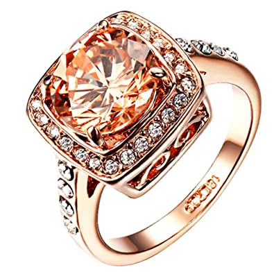 Yoursfs Halo Pink Opal Stone Diamante Rings for Women Party Fashion Jewellery 18ct Rose Gold Plated Prom Dress Statement Ring OxKg3v3J