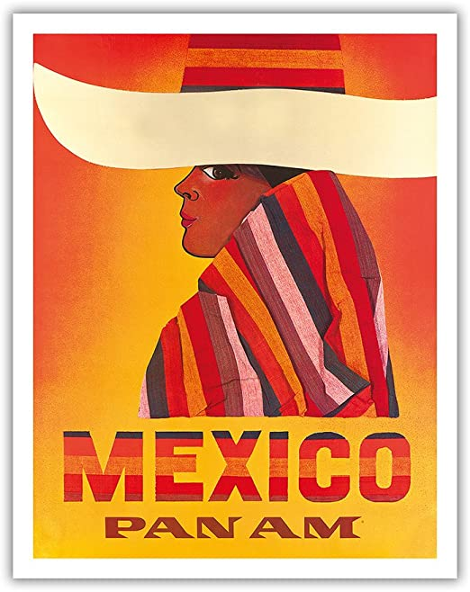 American Airlines to Mexico Vintage Travel Advertisement Art Poster Print