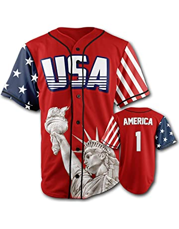 f7c45fd50 Greater Half Custom Baseball Jersey Button Down USA Red America #1  (Small-4XL