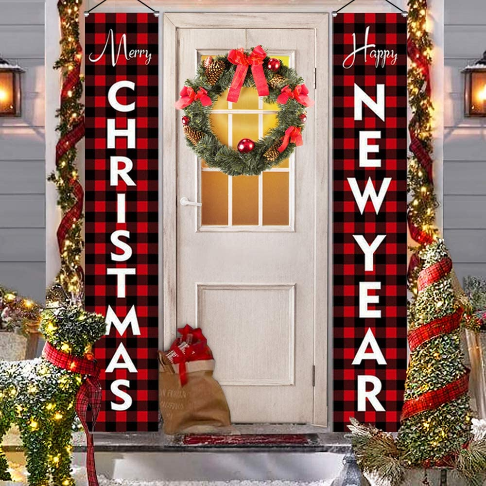 Amazon Com Outdoor Christmas Decorations For Home Modern Farmhouse Decor Merry Christmas Happy New Year Red Buffalo Check Plaid Porch Signs Rustic Xmas Banners For Indoor Outside Front Door