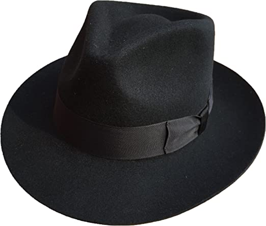 White Fedora Hat  Wool Felt Godfather Gangster Hats For Men Women